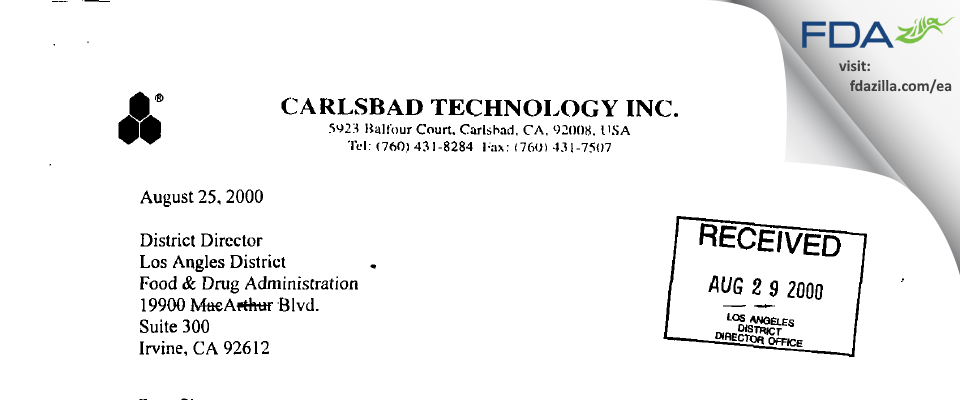 Carlsbad Technology FDA inspection 483 Jul 2000