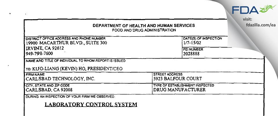 Carlsbad Technology FDA inspection 483 Jan 2002