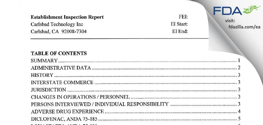 Carlsbad Technology FDA inspection 483 Nov 2004