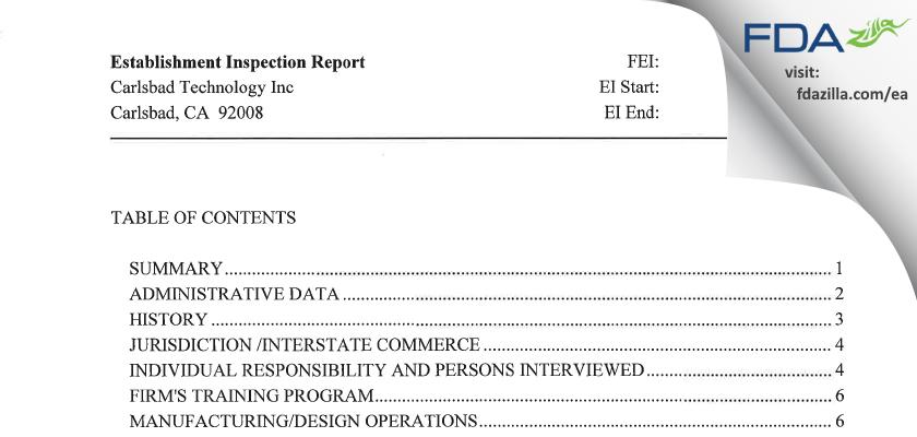Carlsbad Technology FDA inspection 483 Mar 2010