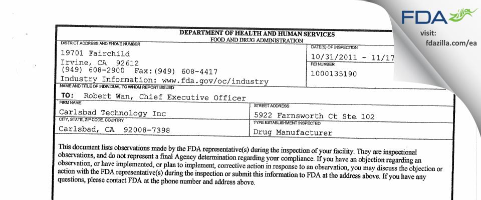 Carlsbad Technology FDA inspection 483 Nov 2011