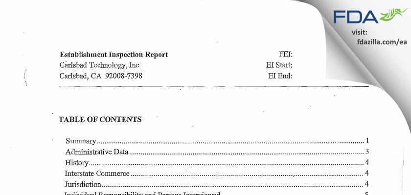 Carlsbad Technology FDA inspection 483 Nov 2014