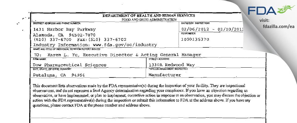 Dow Pharmaceutical Sciences FDA inspection 483 Feb 2012