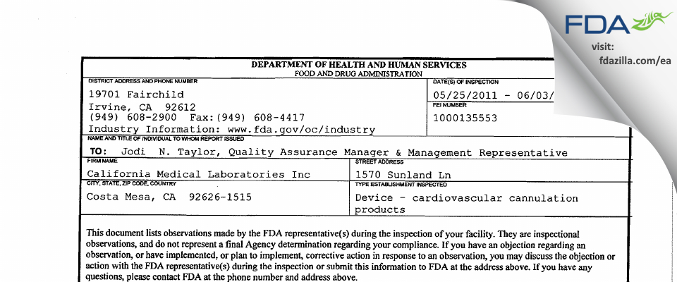 California Medical Labs FDA inspection 483 Jun 2011