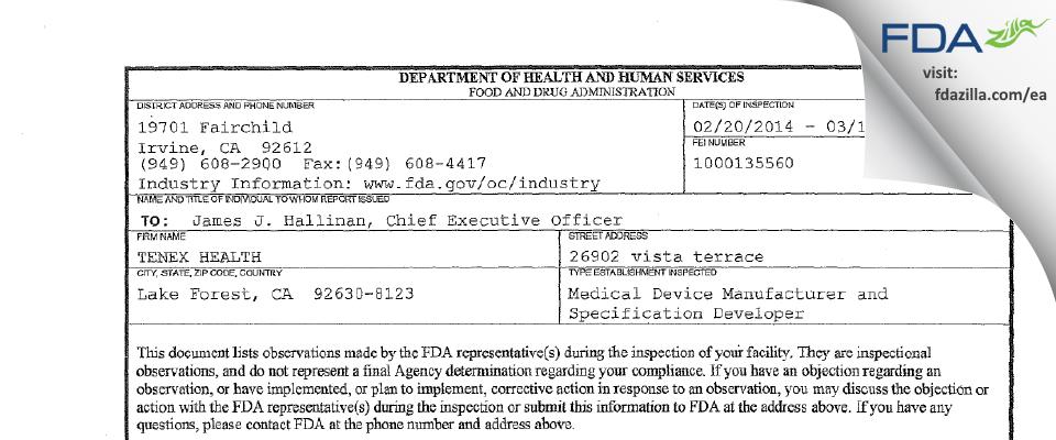 TENEX HEALTH FDA inspection 483 Mar 2014