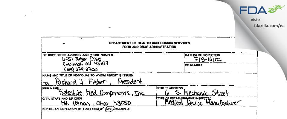 Spectramed FDA inspection 483 Jul 2002