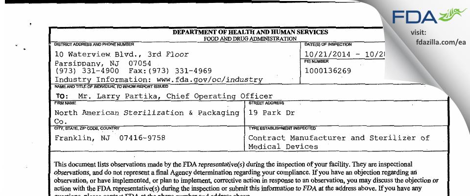 North American Sterilization & Packaging FDA inspection 483 Oct 2014