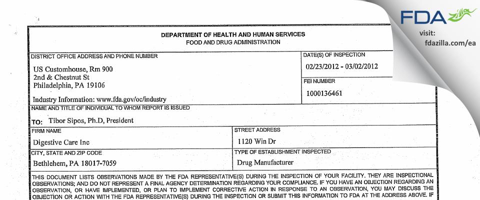 Digestive Care FDA inspection 483 Mar 2012