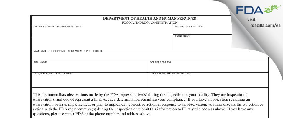 Dukal FDA inspection 483 Apr 2018