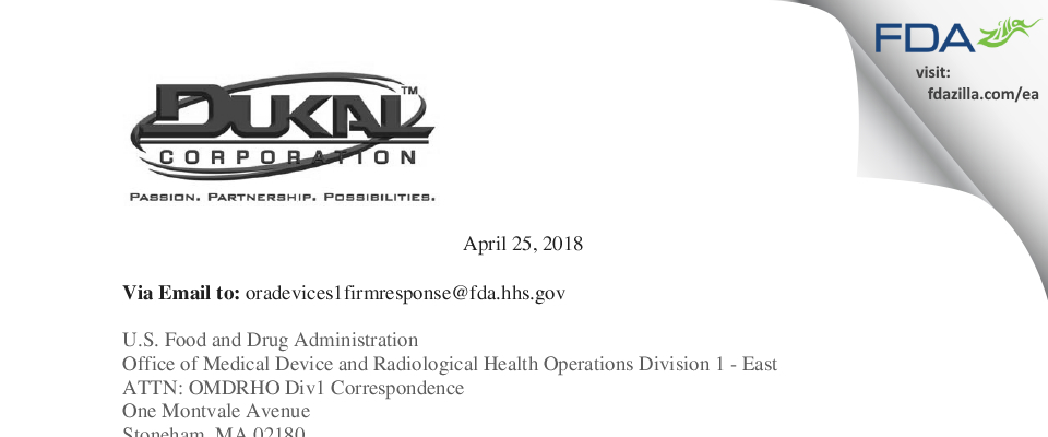 Dukal FDA inspection 483 Apr 2018