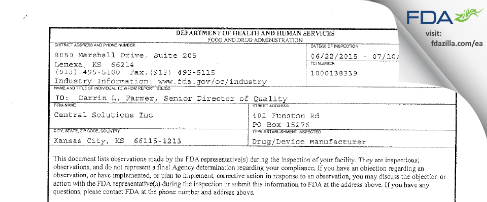 Central Solutions FDA inspection 483 Jul 2015