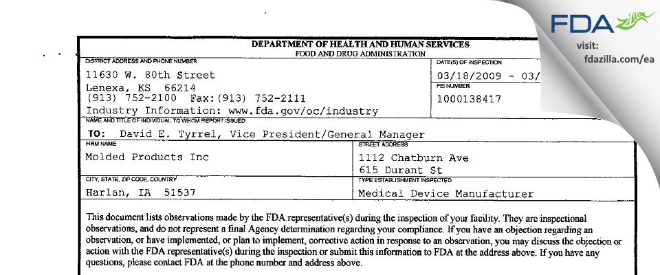 Molded Products FDA inspection 483 Mar 2009