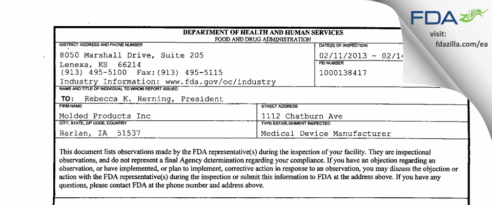 Molded Products FDA inspection 483 Feb 2013