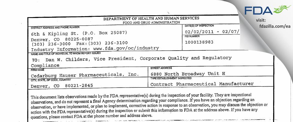 Cedarburg Hauser Pharmaceuticals FDA inspection 483 Feb 2011