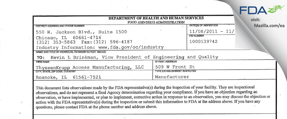 ThyssenKrupp Access Manufacturing FDA inspection 483 Nov 2011
