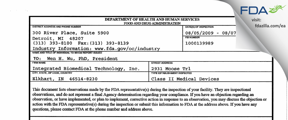 Integrated Biomedical Technology FDA inspection 483 Aug 2009