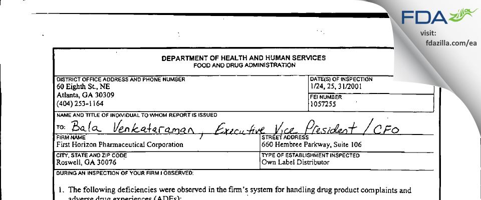 Shionogi Pharma FDA inspection 483 Jan 2001