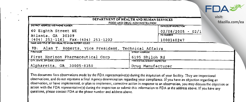 Shionogi Pharma FDA inspection 483 Feb 2005