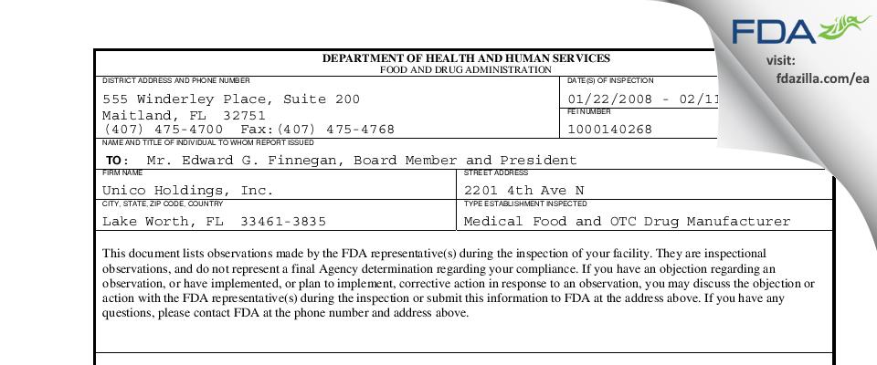 Perrigo Florida FDA inspection 483 Feb 2008