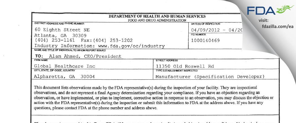 GHC Healthcare FDA inspection 483 Apr 2012