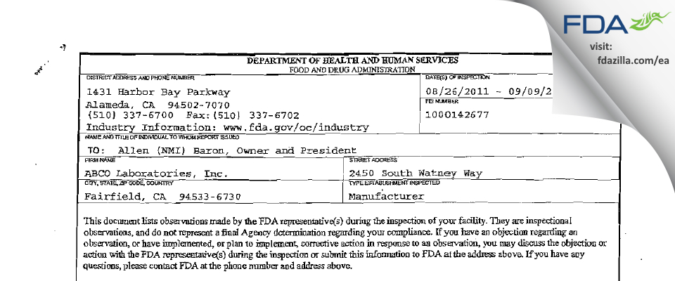ABCO Labs FDA inspection 483 Sep 2011