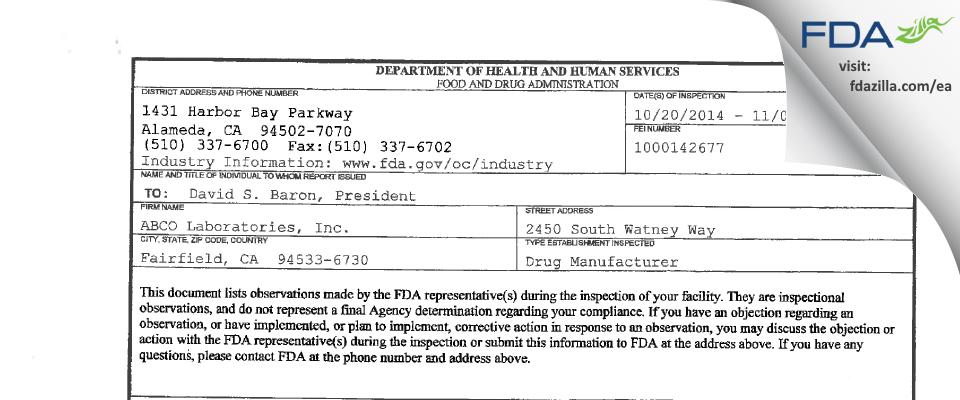 ABCO Labs FDA inspection 483 Nov 2014