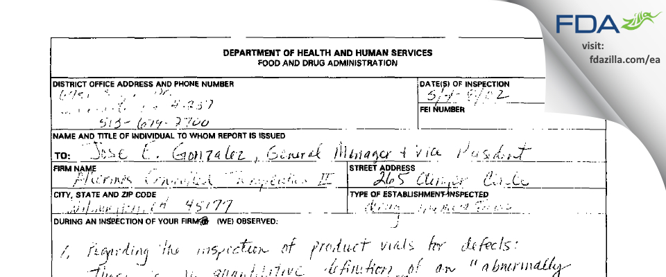Alkermes FDA inspection 483 Mar 2002