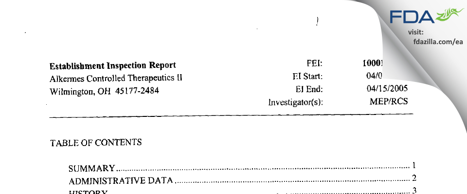 Alkermes FDA inspection 483 Apr 2005