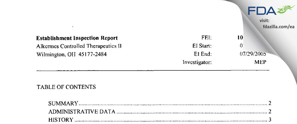 Alkermes FDA inspection 483 Jul 2005