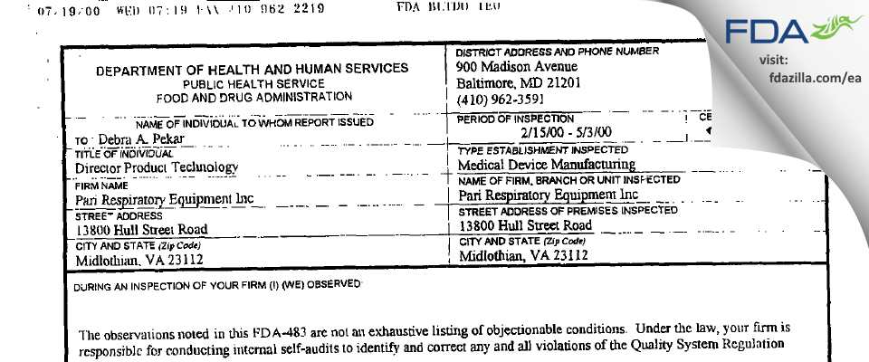 PARI Respiratory Equipment FDA inspection 483 May 2000