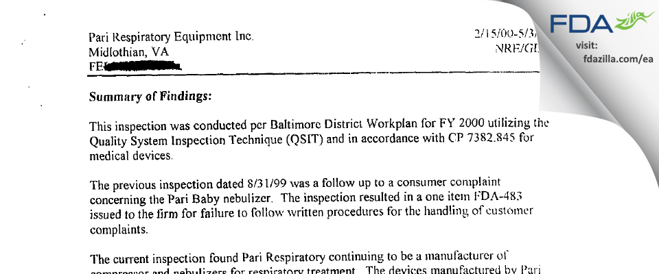 PARI Respiratory Equipment FDA inspection 483 May 2000