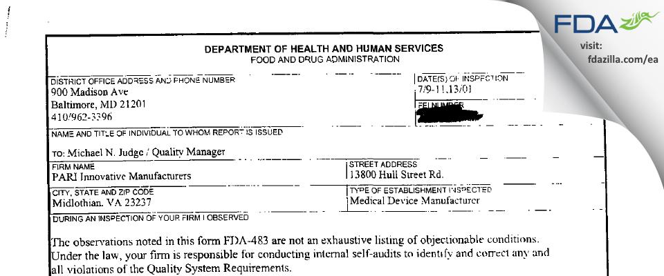 PARI Respiratory Equipment FDA inspection 483 Jul 2001