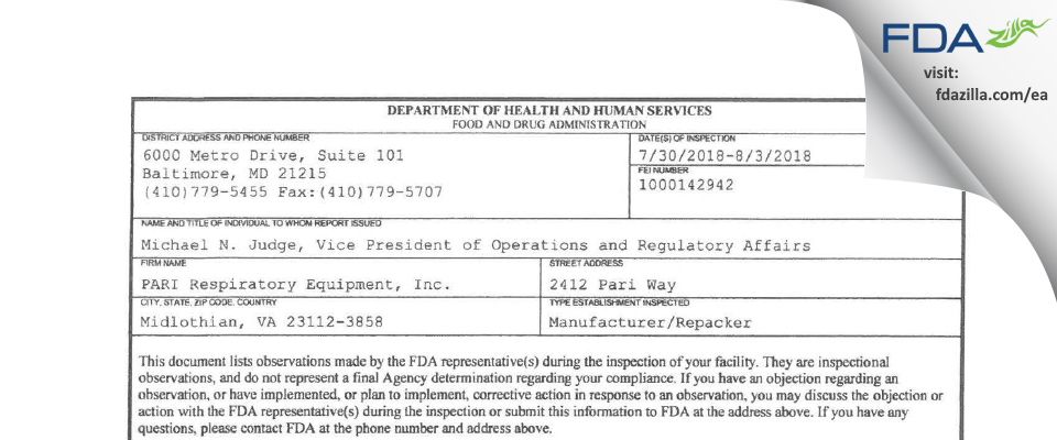 PARI Respiratory Equipment FDA inspection 483 Aug 2018