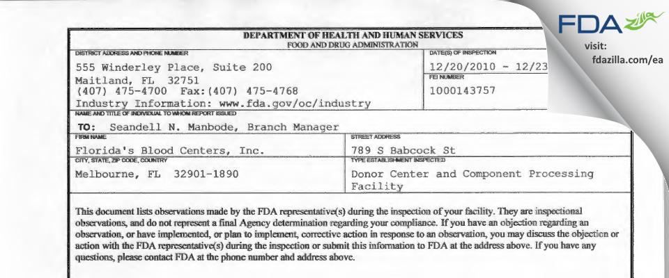 OneBlood FDA inspection 483 Dec 2010
