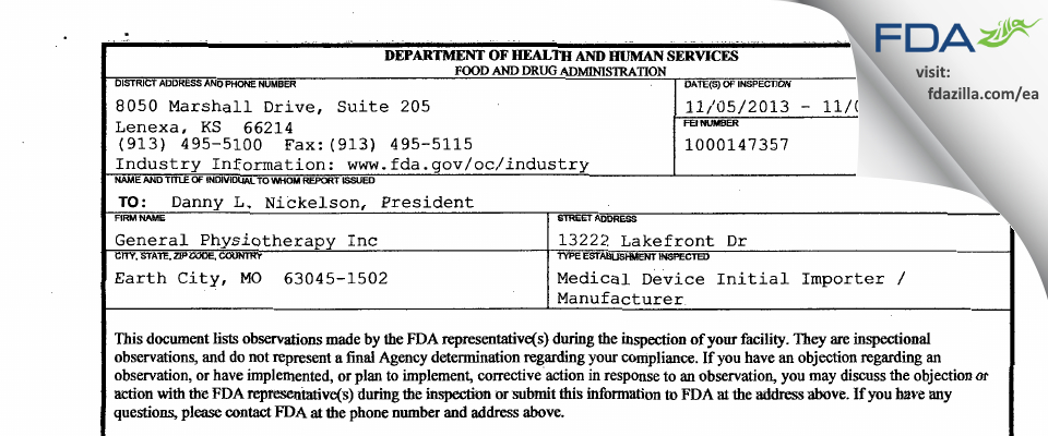 General Physiotherapy FDA inspection 483 Nov 2013