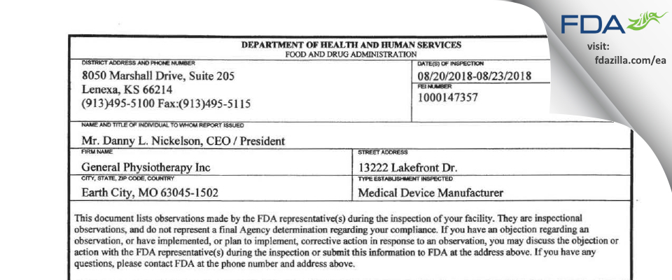General Physiotherapy FDA inspection 483 Aug 2018