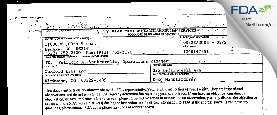 Wexford Labs FDA inspection 483 Sep 2006