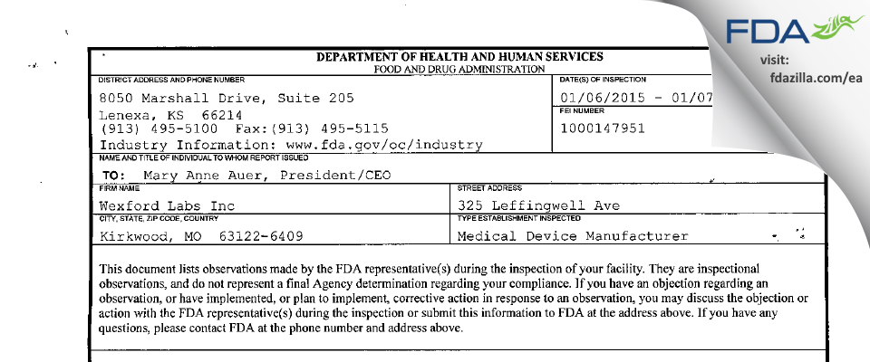 Wexford Labs FDA inspection 483 Jan 2015