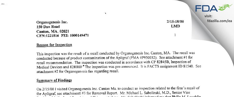 Organogenesis FDA inspection 483 Feb 2000