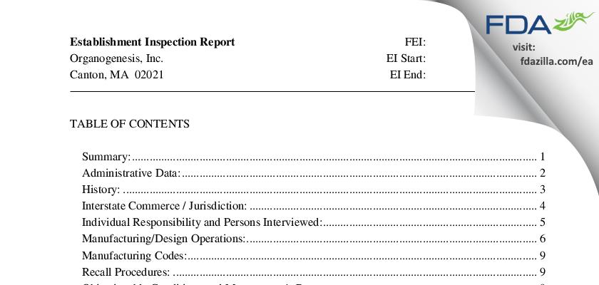 Organogenesis FDA inspection 483 Jun 2014