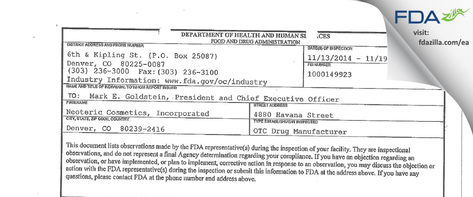 Neoteric Cosmetics FDA inspection 483 Nov 2014