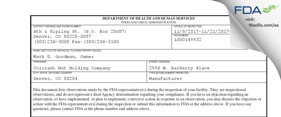 Colorado Nut Holding Company FDA inspection 483 Nov 2017