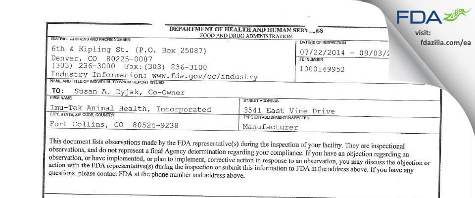 Imu-Tek Animal Health FDA inspection 483 Sep 2014