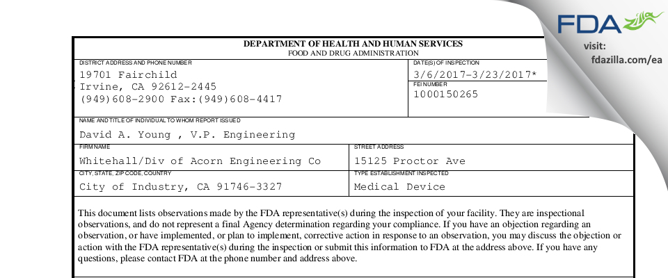 WHITEHALL A DIVISION OF ACORN ENGINEERING CO. FDA inspection 483 Mar 2017