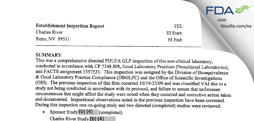 Charles River Labs Preclinical Services FDA inspection 483 Jul 2012