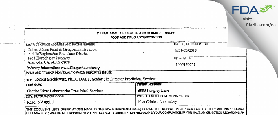 Charles River Labs Preclinical Services FDA inspection 483 Sep 2015