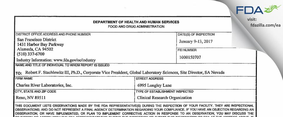 Charles River Labs Preclinical Services FDA inspection 483 Jan 2017