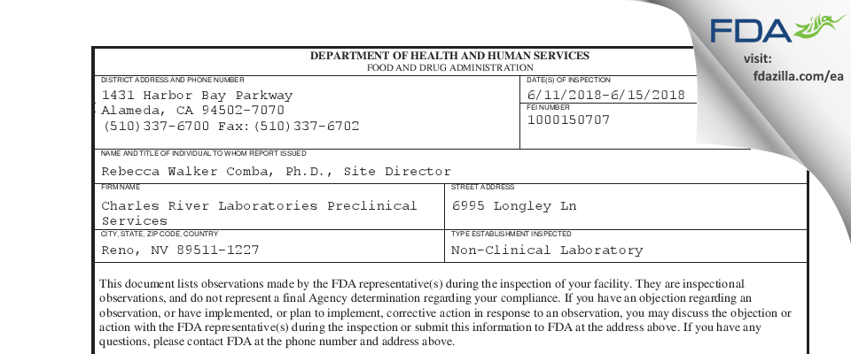 Charles River Labs Preclinical Services FDA inspection 483 Jun 2018