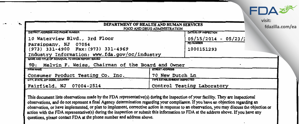 Consumer Product Testing FDA inspection 483 May 2014