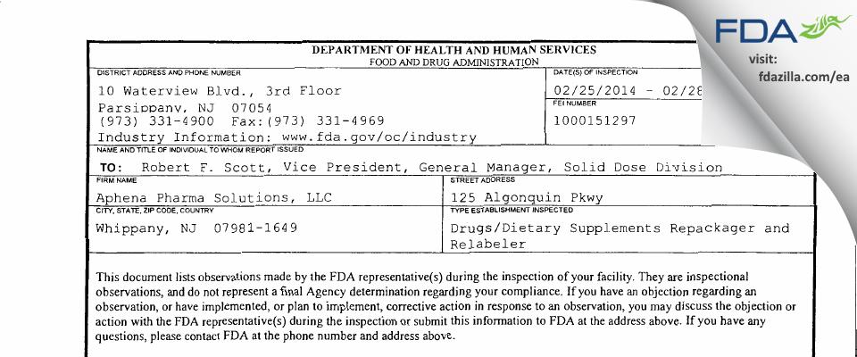 Aphena Pharma Solutions FDA inspection 483 Feb 2014